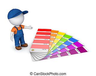 farve, person, lille, sampler., 3