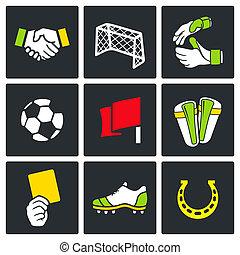 farve, soccer, vektor, samling, ikon