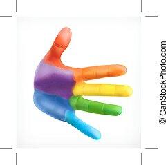 farve, symbol, venskab, hånd