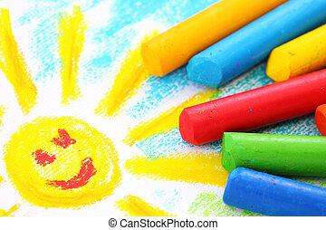 farvekridt, pastel, olie