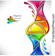 farver, plaske, vektor, adskillige