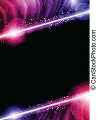 farverig, abstrakt, disco, sort baggrund, bølger