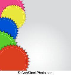 farverig, abstrakt, etiketter, space., vektor, baggrund, kopi