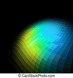 farverig, abstrakt, space., sort baggrund, kopi, mosaik