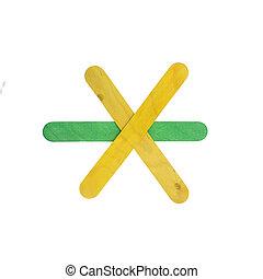 farverig, af træ, pile, tegn, isoleret, på hvide, hos, udklip sti