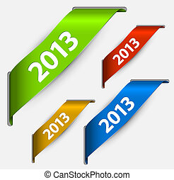 farverig, bånd, år, frisk, nye