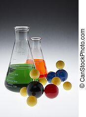 farverig, chemicals, og, molekyler