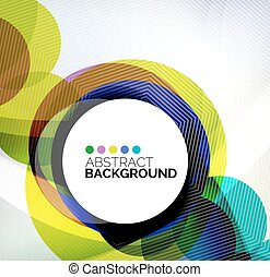 farverig, cirkler, moderne, abstrakt, komposition