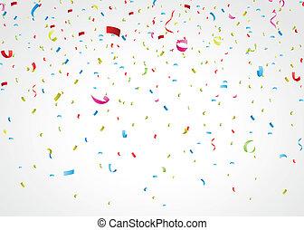 farverig, confetti, på hvide