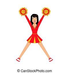 farverig, dansende, karakter, gul, vektor, illustration, cheerleader, pige, pompoms., cartoon, rød, adolescent