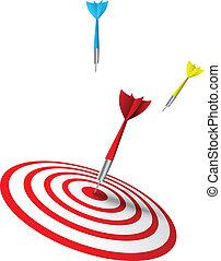 farverig, dart, finder, en, target