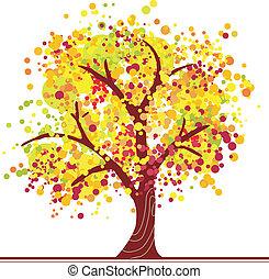 farverig, efterår, træ