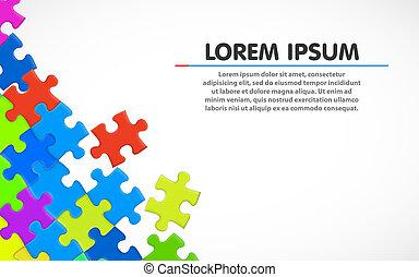 farverig, enkel, jigsaw, puzzle., baggrund., blank