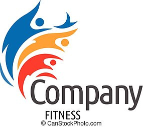 farverig, figur, menneske, duelighed, aktiv, logo