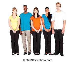 farverig, folk, diversity, isoleret, på hvide
