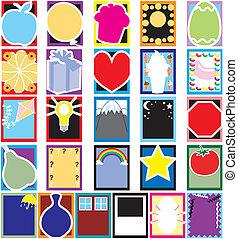 farverig, genstand, silhuet, cards