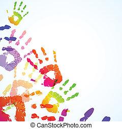 farverig, hånd trykker, baggrund