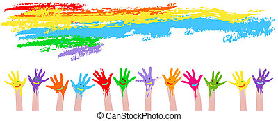 farverig, hænder