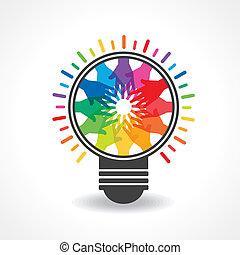 farverig, hænder, forarbejde, en, lys, -bulb