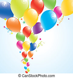 farverig, himmel, illustration, vektor, balloner