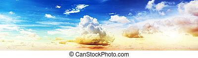farverig, himmel, og, skyer