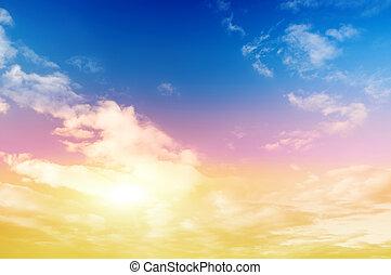 farverig, himmel, og, solskin