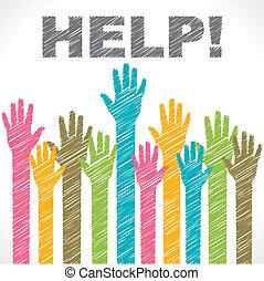 farverig, hjælp, behøve, hånd