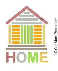 farverig, hjem, ikon