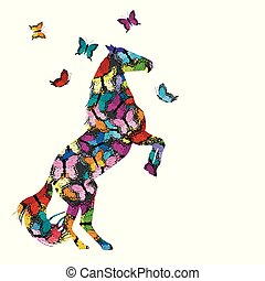farverig, illustration, hos, patterned, hest, og, sommerfugle