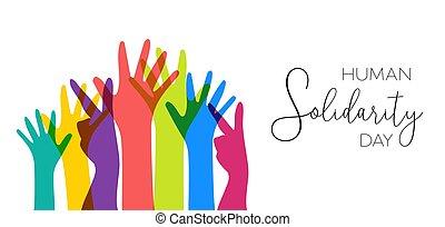 farverig, illustration, menneske rækker, dag, solidaritet
