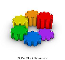 farverig, jigsaw gåde