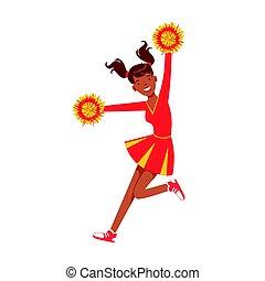 farverig, karakter, illustration, vektor, gul, cheerleader, pige, pompoms., cartoon, rød, springe