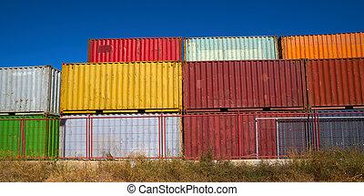 farverig, lagring, beholdere, forsendelse