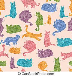 farverig, mønster, seamless, silhuetter, katte, baggrund