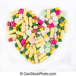 farverig, medicin, pillerne, ind form, i, hjerte, på hvide, baggrund, farmaceutisk, begreb