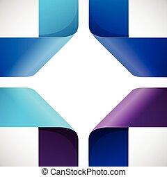 farverig, moebius, avis, baggrund, origami, hvid, trekanter