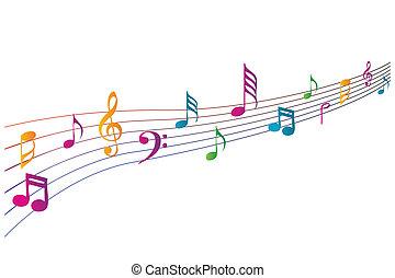 farverig, musik, iconerne