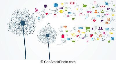 farverig, netværk, flower., sociale