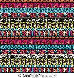 farverig, ornamentere, pattern., seamless, vektor, ethnicity