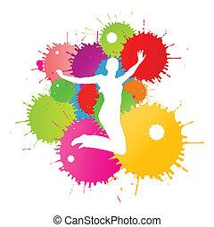 farverig, person, klar, vektor, plaske, baggrund, blæk, ...