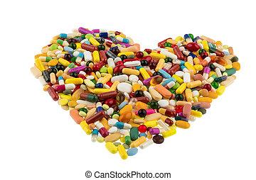 farverig, pillerne, ind, hjerte form
