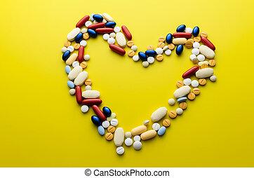 farverig, pillerne, narkotiske midler, og, tabletter