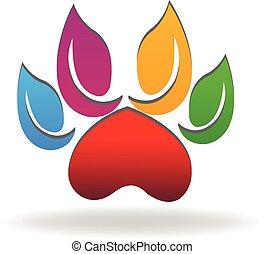 farverig, pote, eco, hund, det leafs, logo