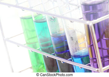 farverig, prøve rør, kemisk, videnskab, laboratorium