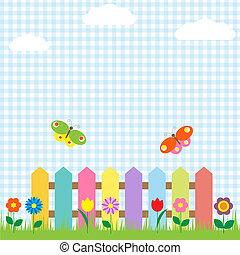 farverig, rækværk, hos, blomster, og, sommerfugle