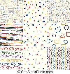 farverig, seamless, hånd, mønstre, stram, børn