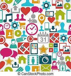 farverig, sociale, medier, netværk, iconerne, seamless, mønster, baggrund., eps10, vektor, fil, organiser, ind, lag, by, let, editing.