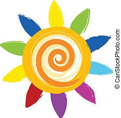 farverig, sol, ikon