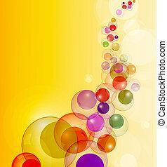 farverig, strøm, abstrakt, space., vektor, baggrund, bobler, kopi