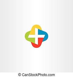 farverig, symbol, kors, vektor, logo, medicinsk, ikon